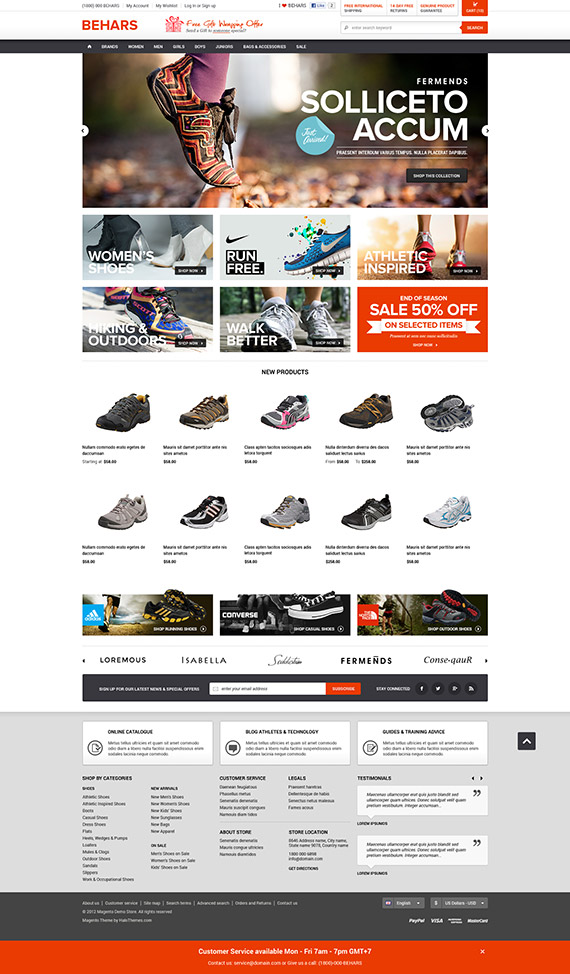 Go Behars - Responsive Shoes Magento Go Theme: Released