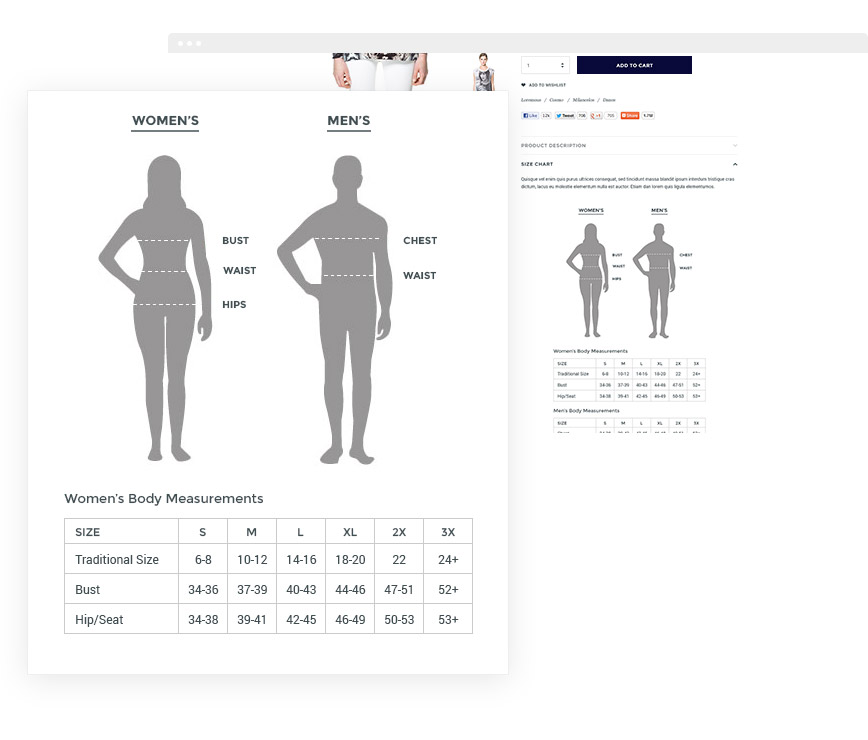 how to add size chart to shopify
