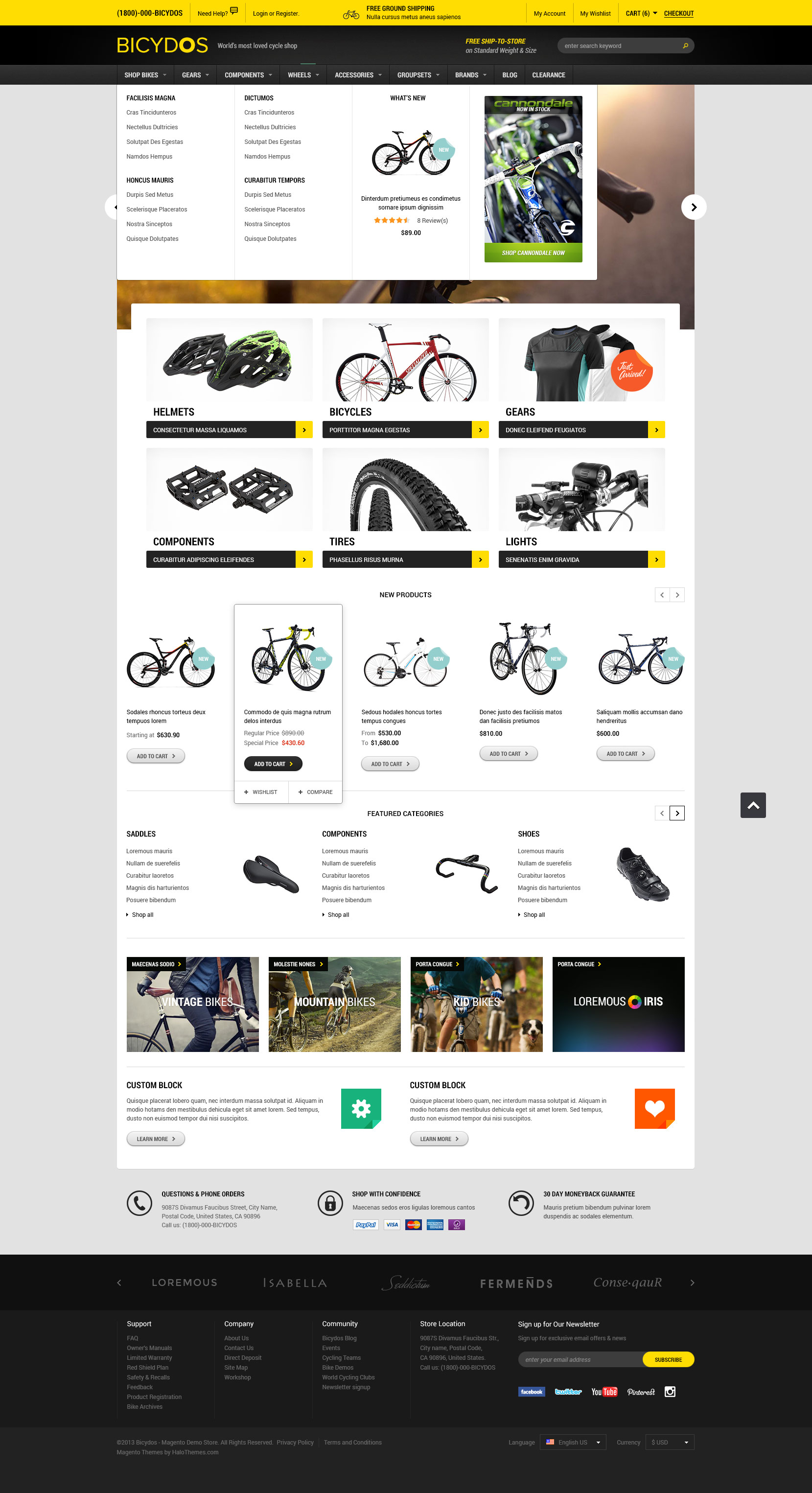 Halo Bicydos - Bike Store Responsive Magento Template (1.9.x ready ...