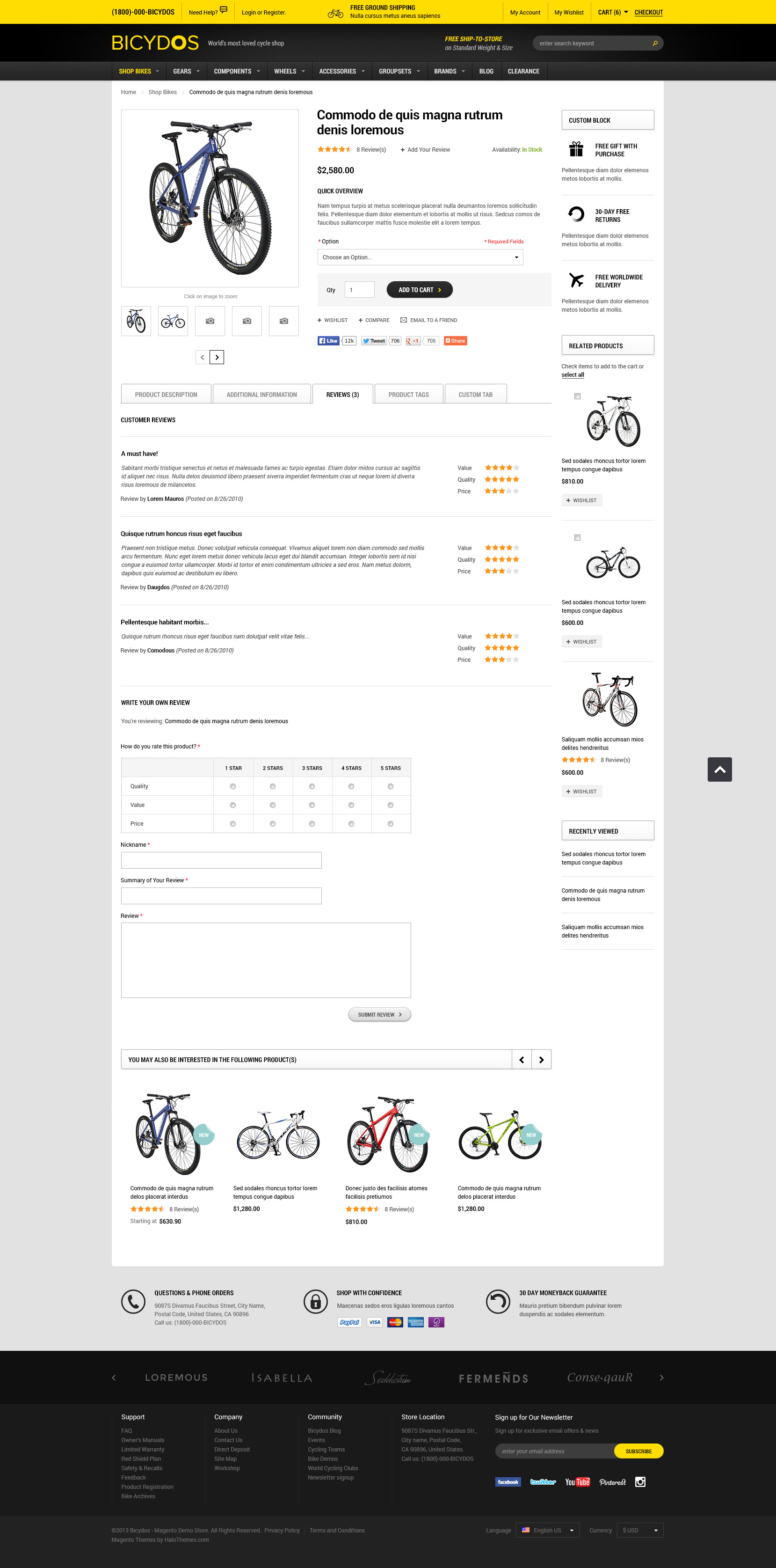 Halo Bicydos - Bike Store Responsive Magento Template (1.9.x ready)