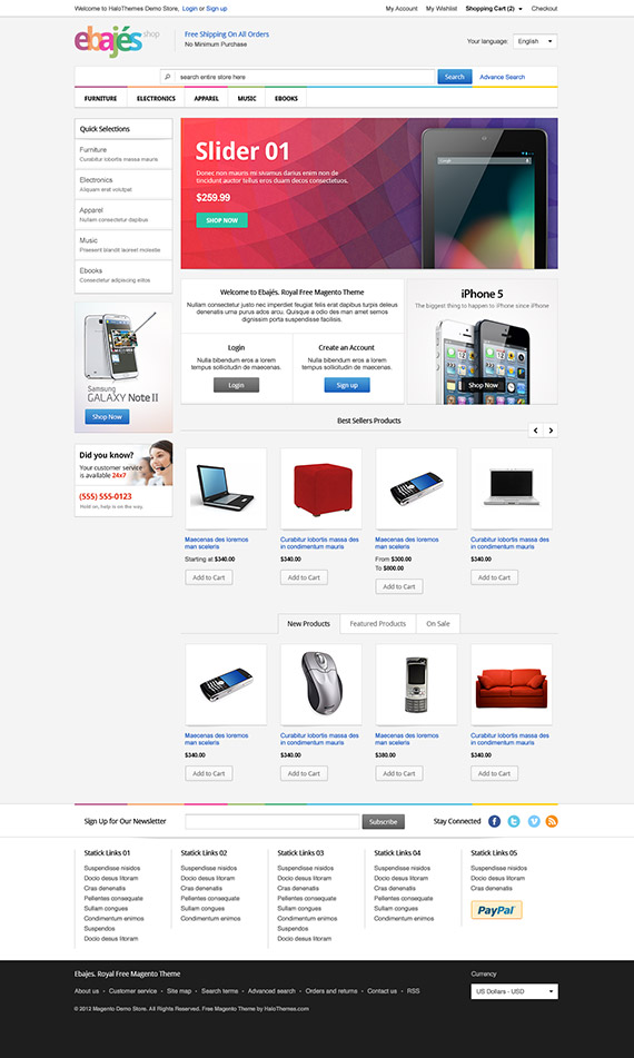 Ebajes - Free Responsive Electronics Magento CE Theme (Version 1.9 Ready): Updated