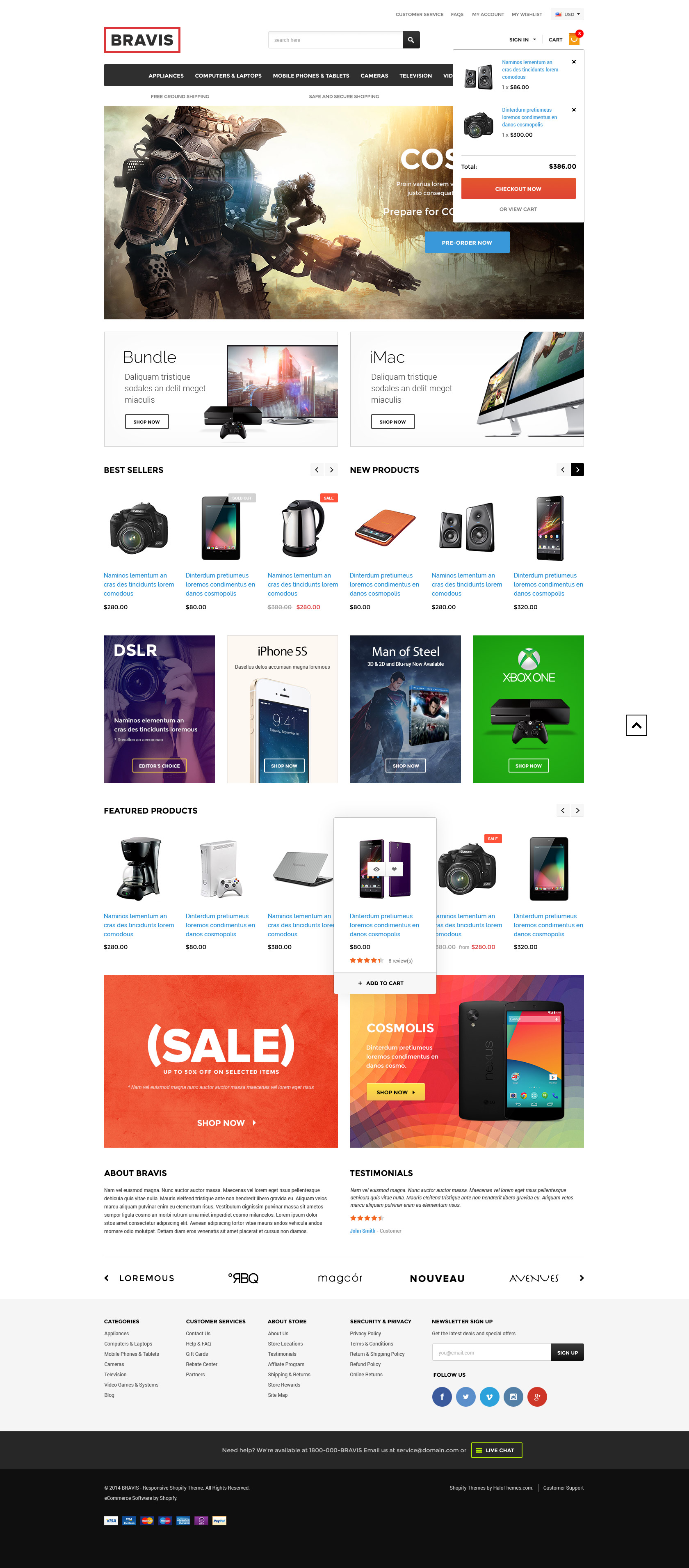 Bravis Responsive Electronics Shopify Template Sections Ready - Responsive shopping cart template