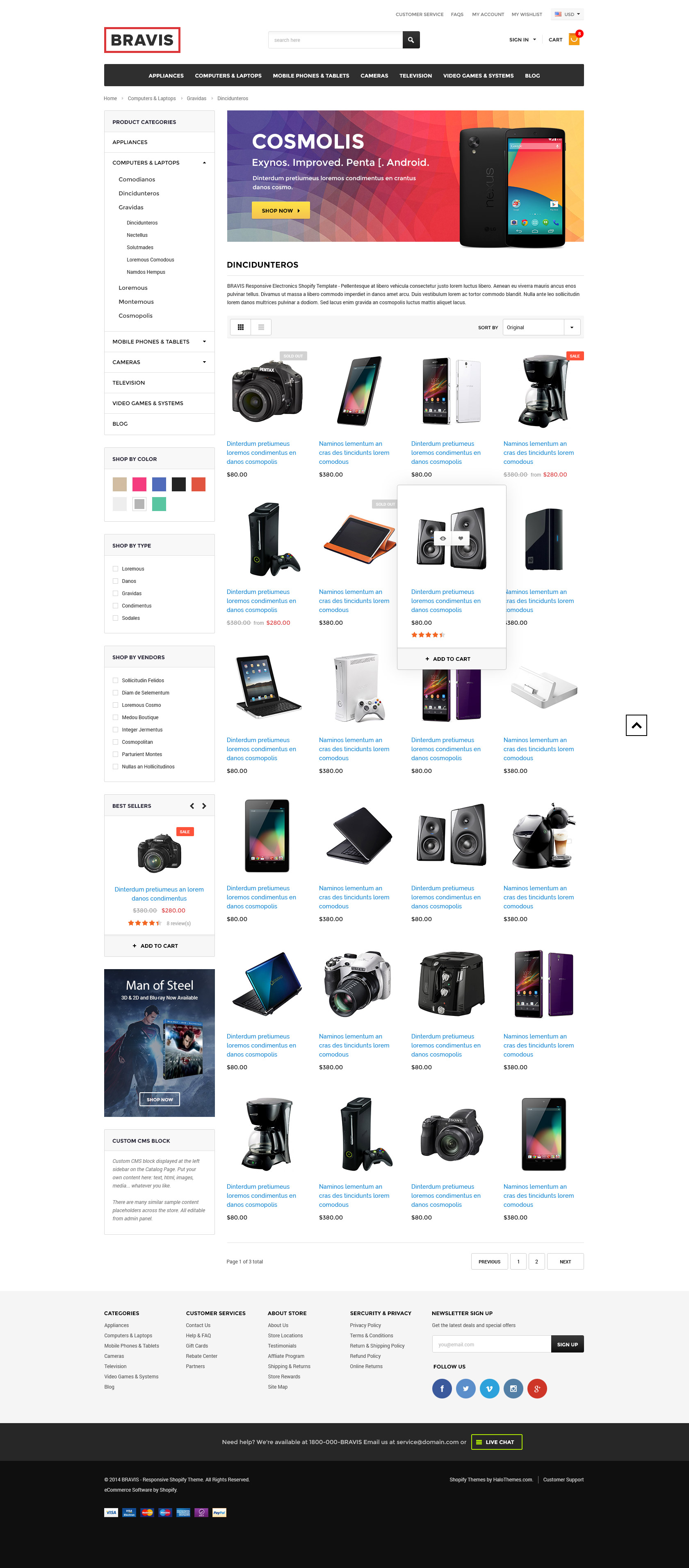 Bravis responsive electronics shopify template sections for Free shopify templates