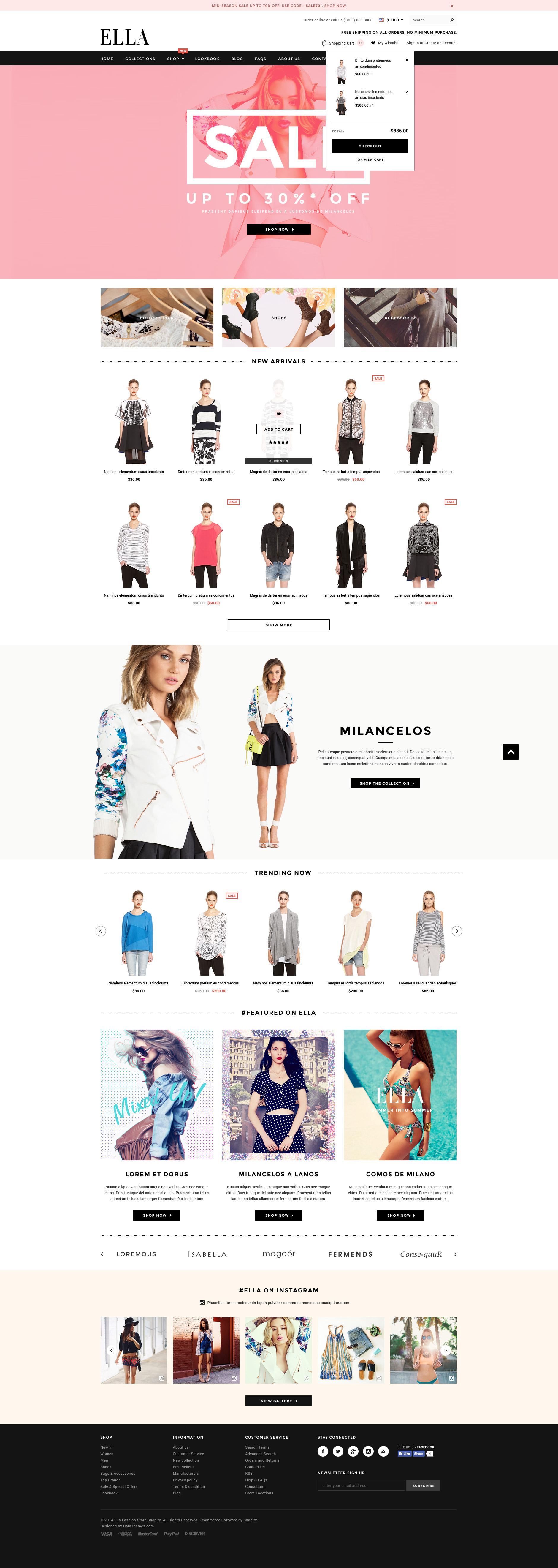 Ella - Responsive Fashion Shopify Template