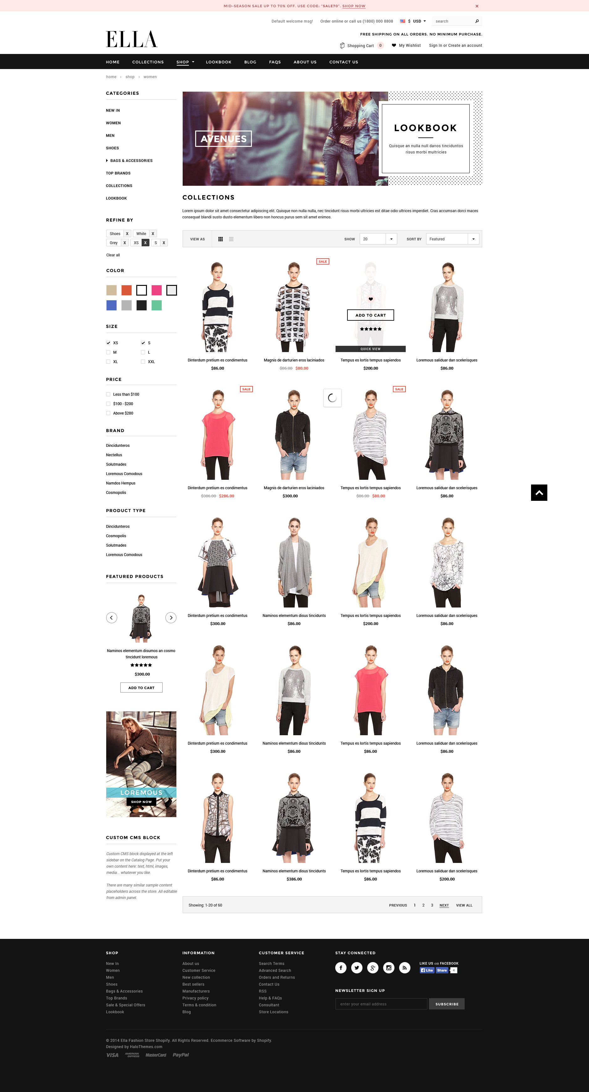 Ella responsive fashion shopify template sections ready for Free shopify templates