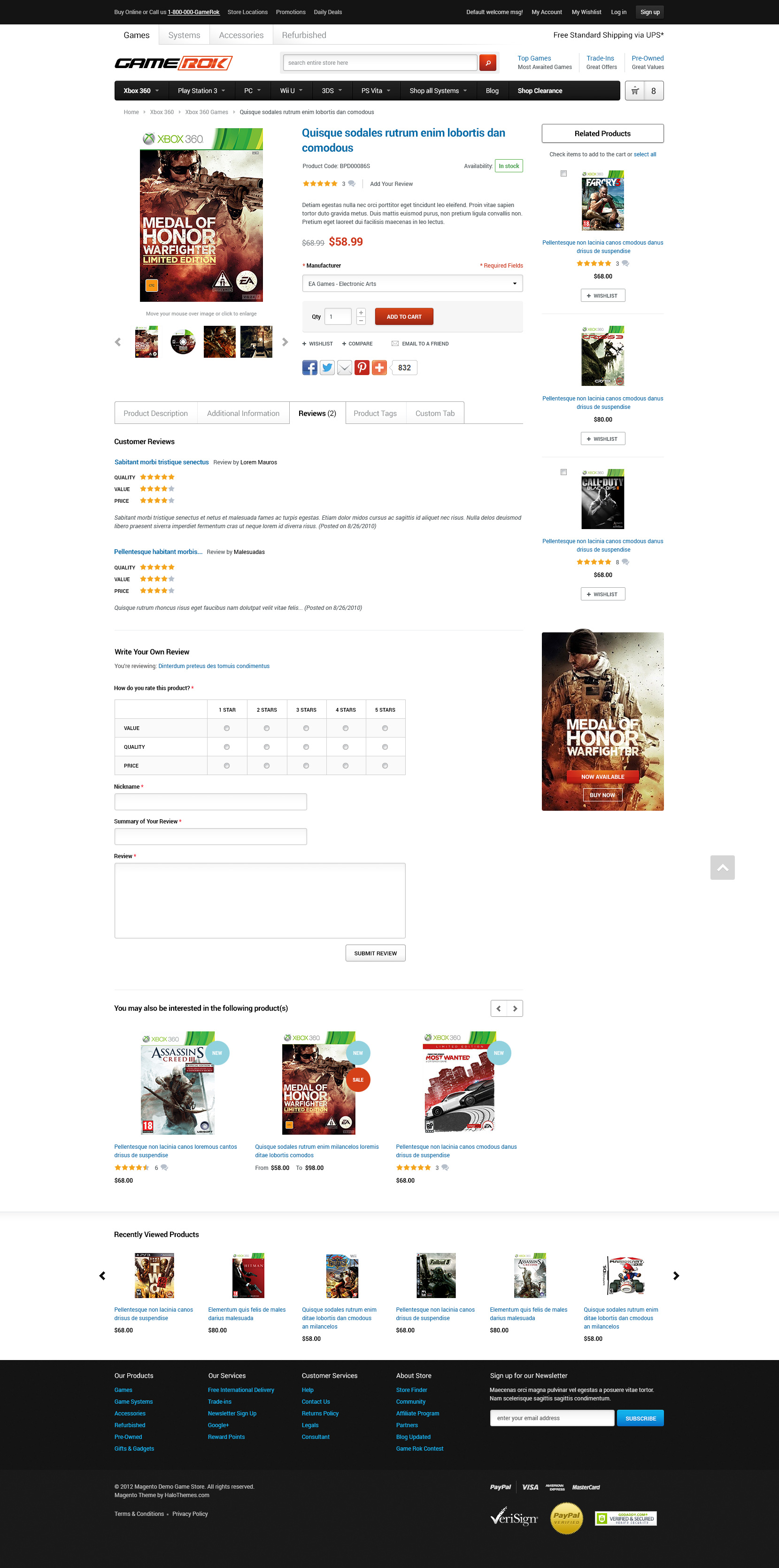 Halo GameRok - Responsive Game Store Magento CE Theme