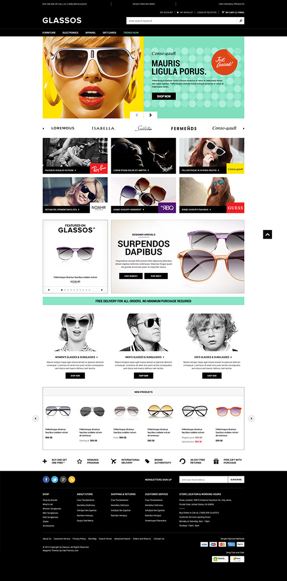 Go Glassos - Responsive Sunglasses Magento Go Theme: Released