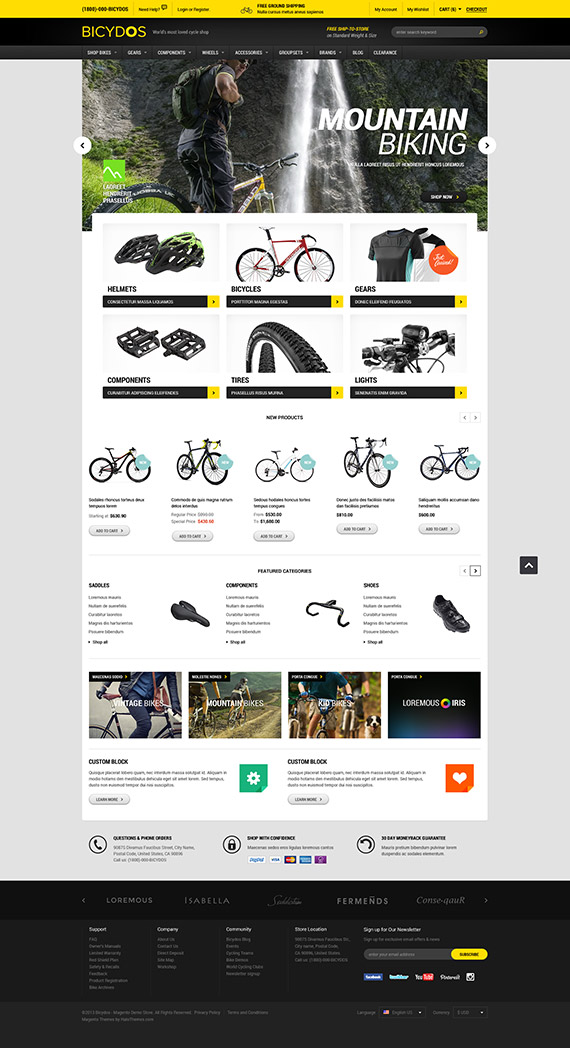 Halo bicydos bike store responsive magento ce template for Magento community templates
