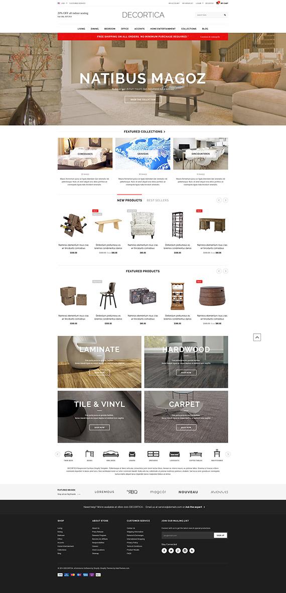 decortica responsive shopify template released. Black Bedroom Furniture Sets. Home Design Ideas