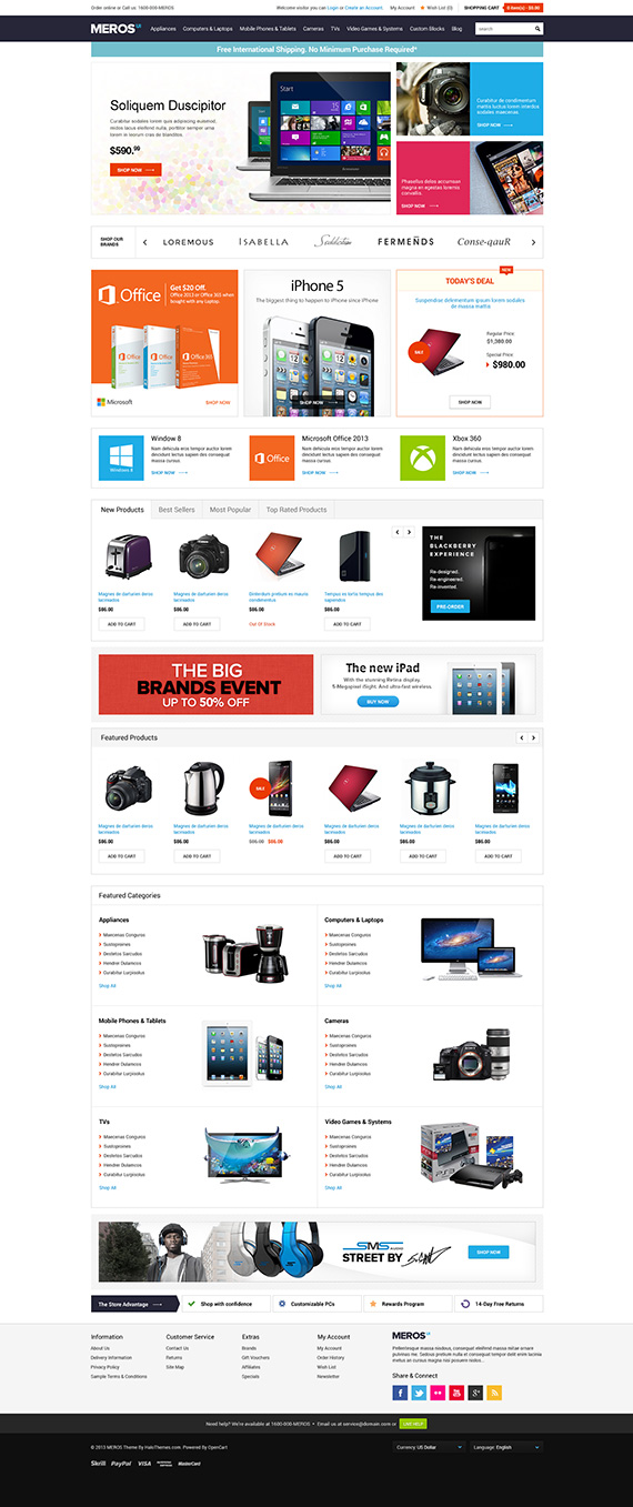 Responsive Electronics Opencart Theme - Halo MEROS: Released