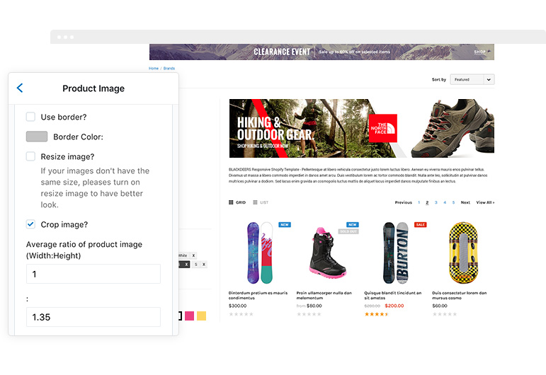 BlackDeers Responsive Sporting Goods Shopify Template Sections - Shopify product page template