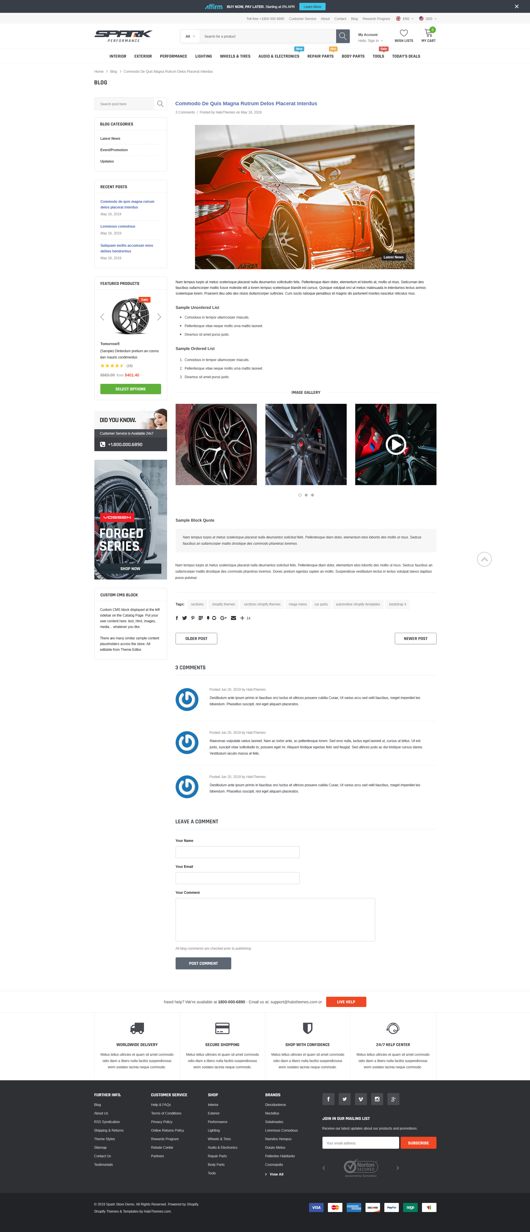SPARK – Cars & Auto Parts Automotive Shopify Theme (Sections Ready)